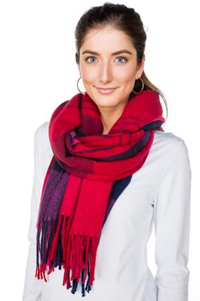 Bright Plaid Oblong Scarf with Fringe