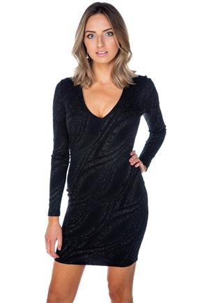Glitter Wave Long Sleeve V-Neck Bodycon Dress
