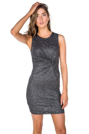 Glitter Sleeveless Dress with Knotted Front