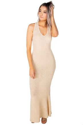 Glitter Crossover Back Mermaid Maxi Dress