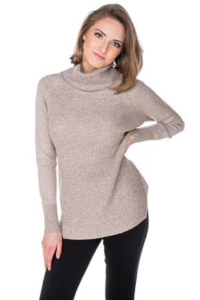 Turtleneck Sweater with Angled Hem