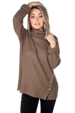 Turtleneck Tunic with Button Detail