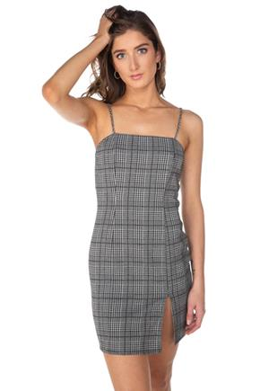 Plaid Spaghetti Strap Bodycon Dress with Side Slit