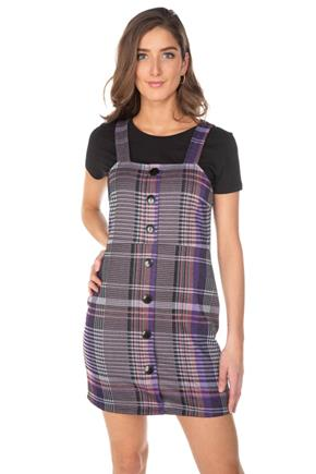 Purple Plaid Jumper with Large Buttons