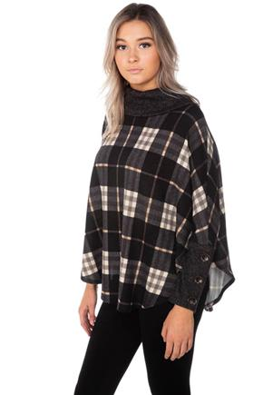 Plaid Cowl Neck Poncho with Buttons