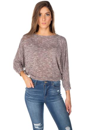 Space Dye Cropped Dolman Sweater