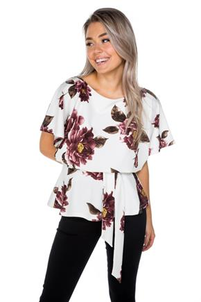 Floral Batwing Peplum Top with Tie-Belt