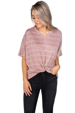Stripe Lightweight Sweater with Twisted Hem