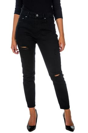 Almost Famous Black Distressed Mom Jean