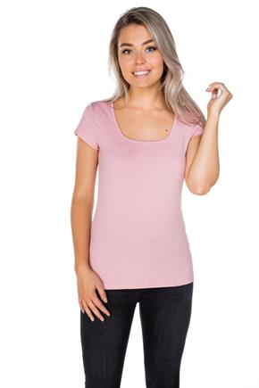 Square Neck Cap Sleeve Tee