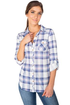 Plaid Shirt with Long Roll-up Sleeves