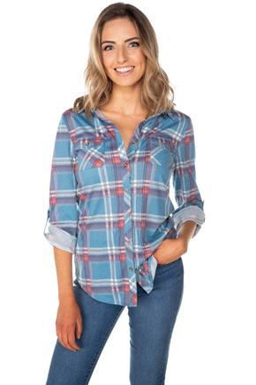 Blue Plaid Shirt with Long Roll-up Sleeves