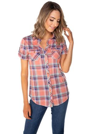Coral Plaid Short Sleeve Shirt