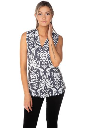 Damask Print Half-Placket Sleeveless Shirt