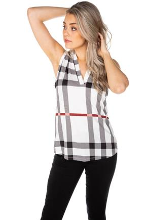 Plaid Print Half-Placket Sleeveless Shirt