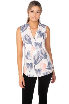 Tulip Print Half-Placket Sleeveless Shirt