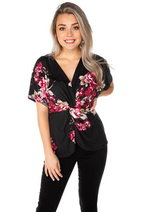 Floral Top with Knotted Front
