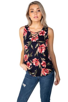 Floral Sleeveless Top with Criss Cross V-Neck