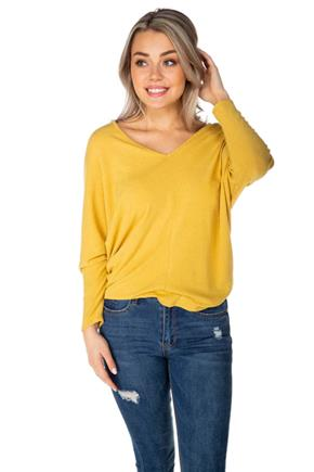Double V-Neck Sweater with Dolman Sleeves