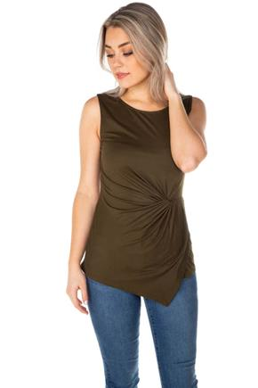 Sleeveless Top with Knotted Front