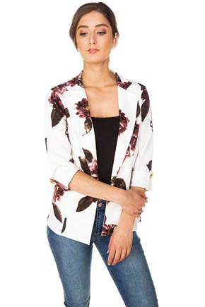 Floral Blazer with Roll-Up Sleeves