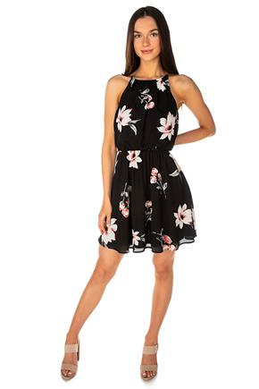Black Floral Dress with Elastic Waist