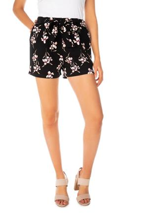 Floral Short with Tie-Belt