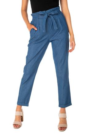 Almost Famous Chambray Paperbag Pant with Tie-Belt