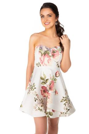 White Floral Skater Dress with Clear Spaghetti Straps
