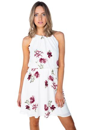 White Floral Dress with Elastic Waist