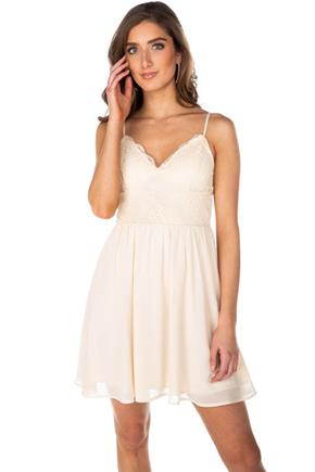 Chiffon Spaghetti Strap Dress with Lace Top