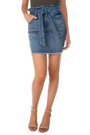 Almost Famous Mid-Wash Paperbag Denim Skirt