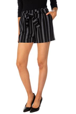 Stripe Short with Tie-Belt