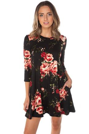 Floral 3/4 Sleeve Swing Dress with Pockets