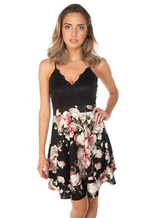 Lace and Floral Spaghetti Strap Skater Dress