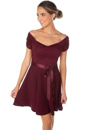Lace Skater Dress with Satin Tie
