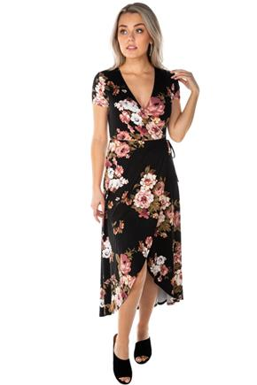 Floral Crossover High-Low Dress