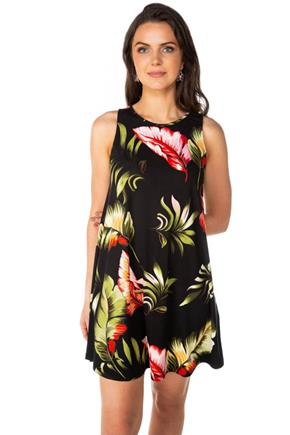 Tropical Floral Sleeveless Swing Dress