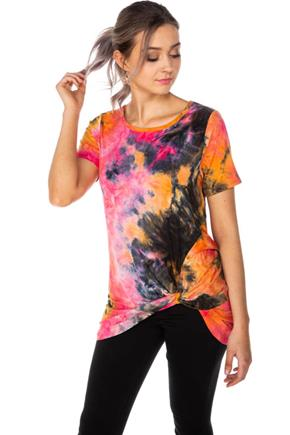 Tie-Dye Tunic with Knotted Hem