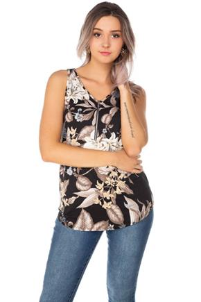 Floral Sleeveless Top with Half-Zipper