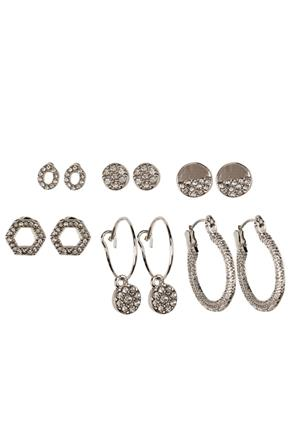 Set of 6 Stud and Mini Hoop Earrings