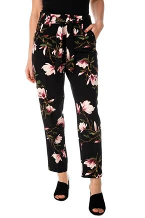 Floral Pleated Pant with Tie-Belt