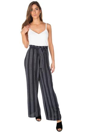 Stripe Paperbag Wide Leg Jumpsuit