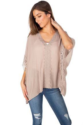 V-Neck Top with Kimono Sleeves