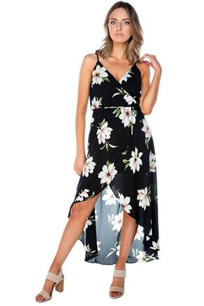 Large Flower Crossover Maxi Dress