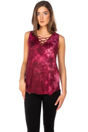 Tie-Dye Top with Criss Cross Detail