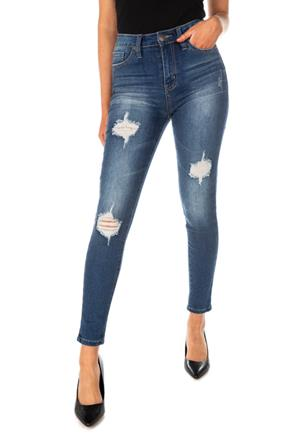 YMI Dark Wash Mid-Rise Destructed Skinny Jean