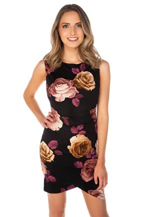 Floral Sleeveless Dress with Ruching