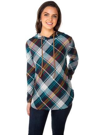 Plaid Popover Hoodie with Suede Drawstring