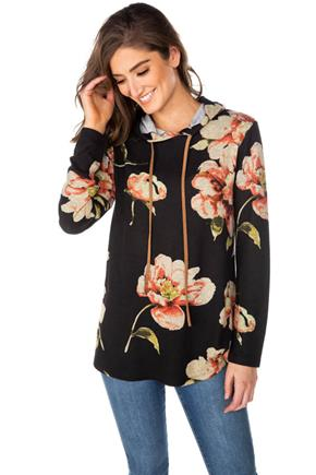 Floral Popover Hoodie with Suede Drawstring